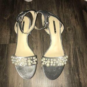 Zara heeled pearl velvet sandal 39 size 8